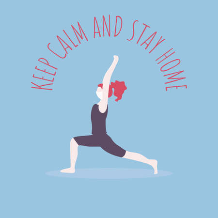 COVID-19 self quarantine. Standing in anjaneyasana pose. Beautiful girl with red hair in mask does yoga. Meditation wellness vector art. Self isolation during coronavirus. Keep Calm and stay home.