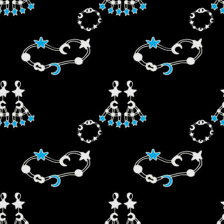 Jewelry in white gold or silver with sapphires. Bracelets, earrings, necklaces with moon and star pendants seamless pattern on black background. Design for wrapping paper, wallpaper, packaging, card.