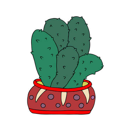 Large green spiny cactus in red pot. Houseplant. Indoor flower, elegant home decor. Hand drawn vector art isolated on white background. Design for flyers, cards, invitations.