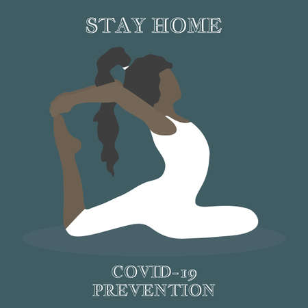 Stay home. COVID-19 prevention. Eka Pada Rajakapotasana. One-Legged King Pigeon Pose. Beautiful african american girl with long hair in a white tracksuit doing yoga exercise. Vector flat illustration.