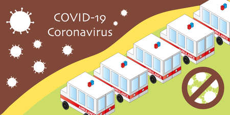 Medical banner COVID-19 Coronavirus fight. Ambulances with medical teams are ready to fight pandemic. Isometric vector illustration. Biologically dangerous 2019-ncov cells. Outbreak crisis concept.
