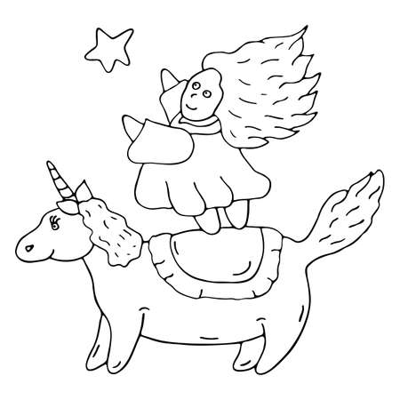 Little beautiful princess dreamer in dress reaches for star, standing on back of unicorn. World of baby sleep. Magic horse. Hand drawn vector illustration. Best design for kids room. Coloring page. Vettoriali