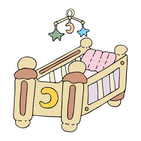 Bright crib (cradle) for sleeping with pillow and rattle. Hand drawn vector illustration. Wooden cradle engraved with crescent moon. Best design for kids room, invitation, album. Coloring page.