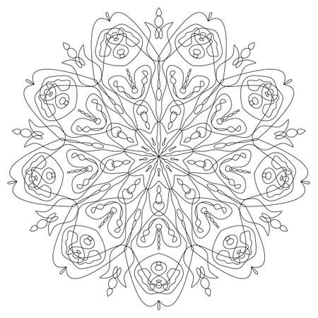 Black Mandala with roses. Coloring book page. Outline doodle vector illustration. Decorative ornament in ethnic oriental style. Design for decoration greeting card and tattoo. Kaleidoscope, medallion.