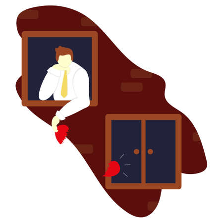 Unrequited love in the distance. Young guy in window with a broken heart at night dreams of love and reciprocity. Rejected feelings. Vector flat illustration. Growing up and youthful problems.