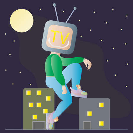Television Addiction. Evil TV god with insidious smile captured world and sits on a multi-storey building at night under full moon. Man with TV instead of head. Social problem vector illustration. Ilustração