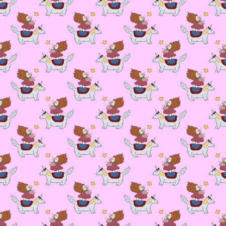 Seamless pattern cute little princess reaches for a shooting star, standing on back of unicorn. Magic and dream. Vector hand drawn illustration. Great design for kids room, wrapping, postcard, fabric.