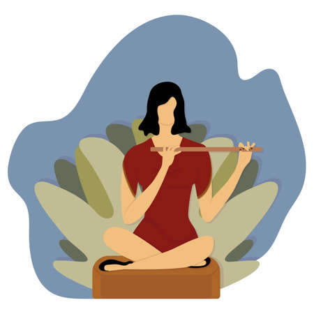 Girl playing flute. Beautiful brunette in graceful red dress sits in lotus position on stump in forest. Playing wind instrument. Vector flat illustration with shadow. Great design for music.