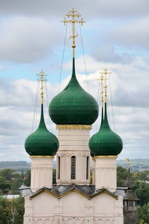 cupolas: The view from the observation deck of Water Tower upper part of the gate church of John the Baptist Stock Photo