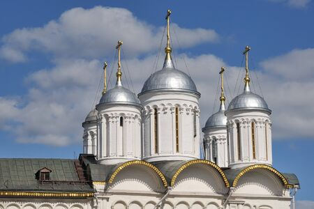 cupolas: Silver Helmet Domes of the Church of Twelve Apostles in Moscow Kremlin, Russia Stock Photo
