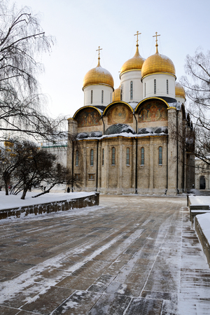 MOSCOW, RUSSIA – The main church of Moscow Kremlin, the Cathedral of Assumption (Dormition) of Our Lady (1475-1479), in the cold winter day after a snowfall.