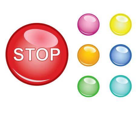 boton stop: Bot�n de parada  Vectores