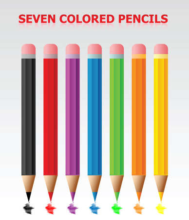 Seven Colored Pencils Vector