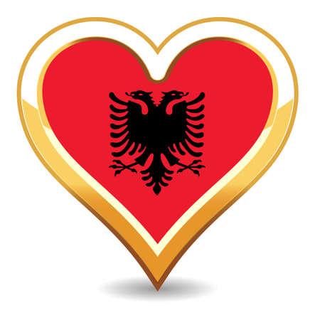 albanie: Coeur Albanie drapeau Illustration
