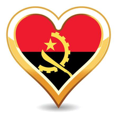 Heart Angola Flag Illustration