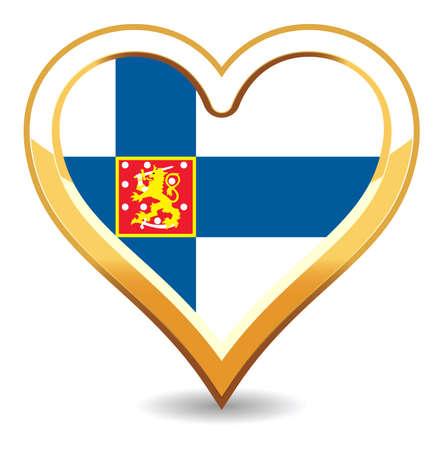 bandera de finlandia: Bandera de Finlandia de coraz�n