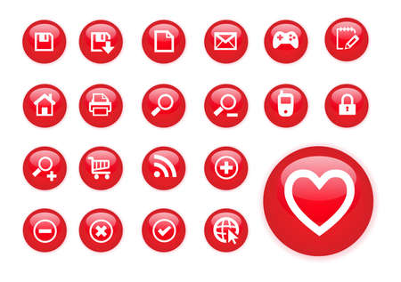 Circle red icons Vector