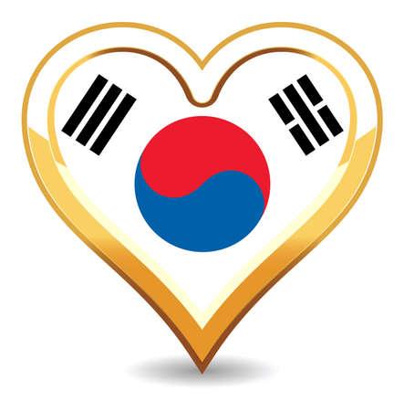 Heart Korea Flag Vector