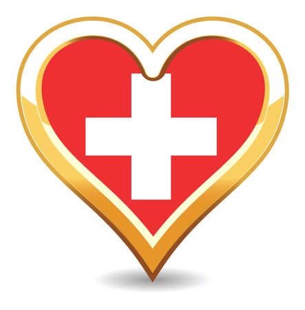 zwitserland vlag: Hart Zwitserland vlag Stock Illustratie
