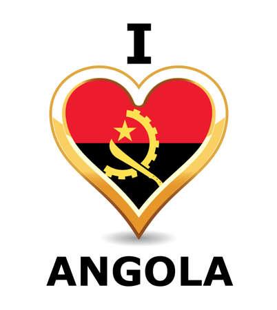 angola: Heart Angola Flag Illustration