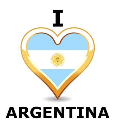 Heart Argentina Flag Vector