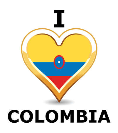 Heart Colombia Flag Vector