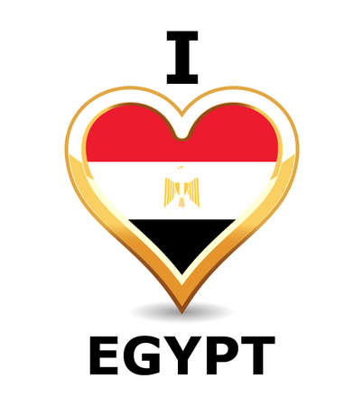 Heart Egypt Flag Vector