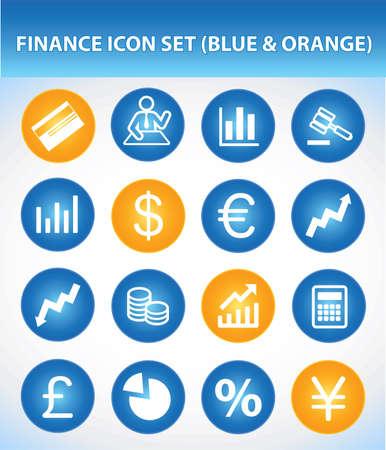 Finance Icon Set (Blue & Orange) Illustration