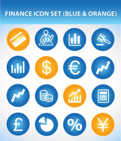 Finance Icon Set (Blue & Orange) Illustration