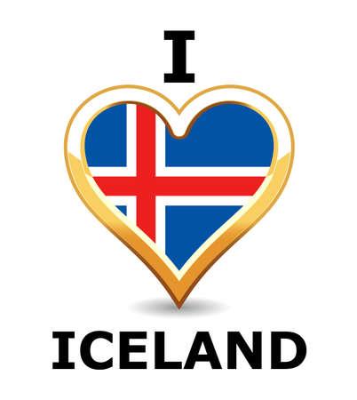 flag of iceland: Bandera de Islandia de coraz�n