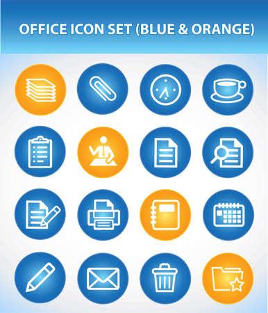 office printer: Office Icon Set (Blue & Orange) Illustration