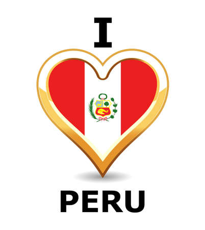 Heart Peru Flag Illustration