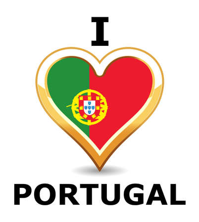 Heart Portugal Flag Vector