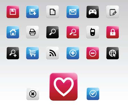Icônes Web de couleurs. Vecteurs
