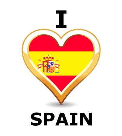 Heart Spain Flag Vector