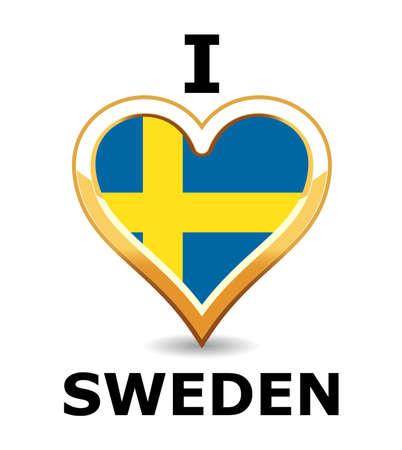 Heart Sweden Flag Stock Vector - 6743249