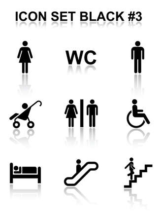 man and women wc sign: Icon Set Black #3