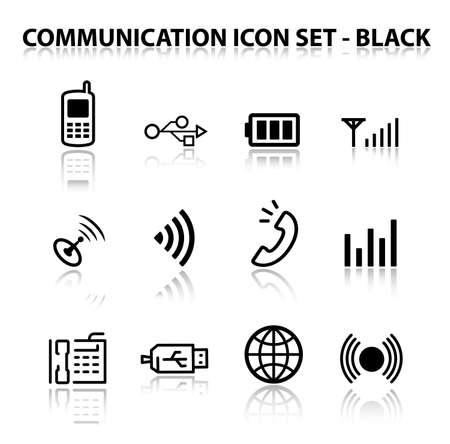 pilas: Reflejar la comunicaci�n Icon Set (negro)  Vectores