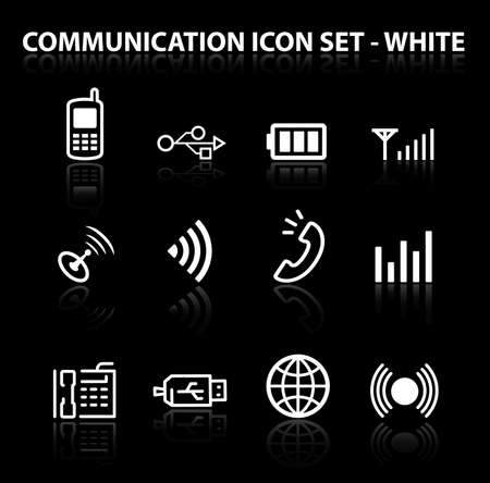 Reflect Communication Icon Set (White)