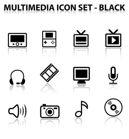 Reflect Multimedia Icon Set (Black)