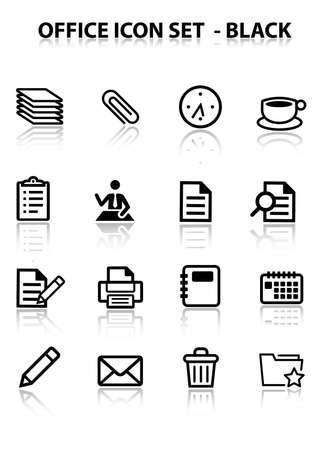 reflect: Reflect Office Icon Set (Black) Illustration
