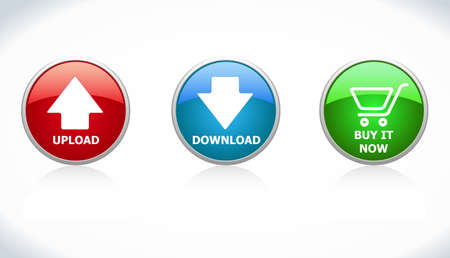 Buttons Download, Upload, Buy it Now Vector