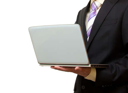 businessman with hands laptop photo
