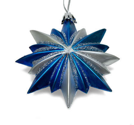 Blue Christmas star isolated over a white background photo