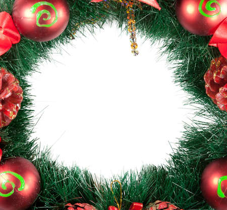Christmas Tree Decoration garland. Isolated over white background photo