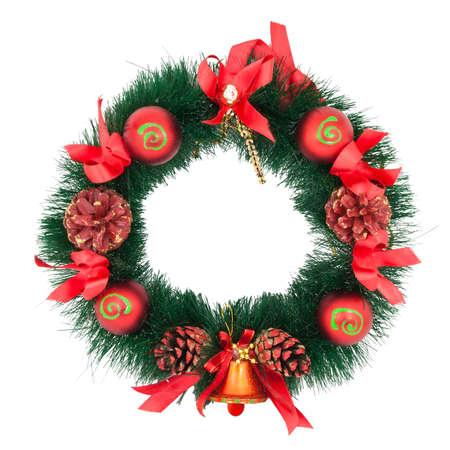 Christmas Tree Decoration garland. Isolated over white background photo