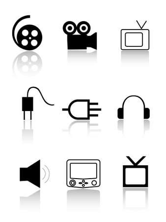 enchufe: Iconos de cine y TV. Signos de cine y TV