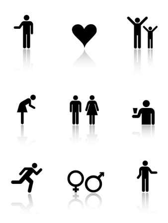 man vrouw symbool: Menselijke pictogrammen. Menselijke tekenen