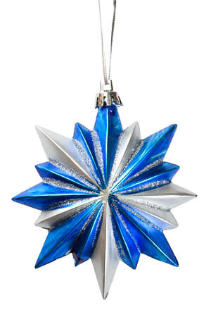 beautify: Blue Christmas star isolated over a white background Stock Photo