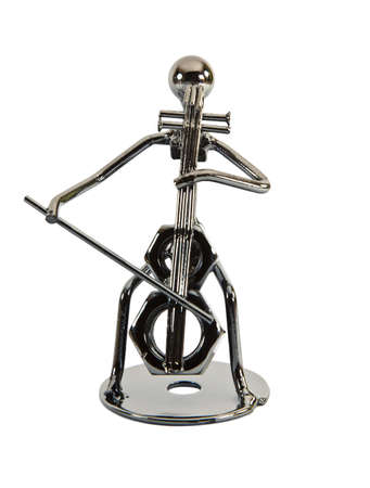 Figurine Iron musician, playing Double bass, violin Stock Photo